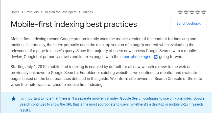 Mobile first indexing for the whole web from september 2020